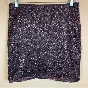 Ann Taylor sequined bronze elastic waist skirt